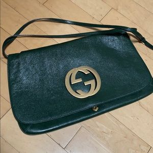 Gucci green bag with gold hardware messenger